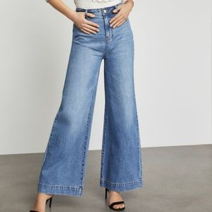 BCBGMAXAZRIA Faded High Waisted Wide Leg Jeans